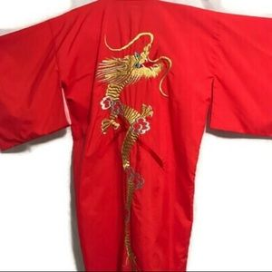 Dragon Kimono Robe sz Large to X/L red and gold